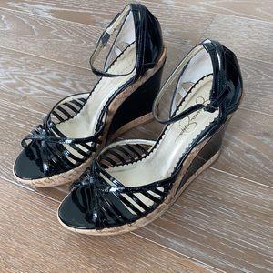 Jessica Simpson Patent Leather Wedge Sandal